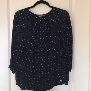Navy blue blouse with cards faces print